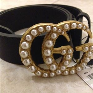 Pearl Embellished GG Buckle Gucci Belt Size 90 cm